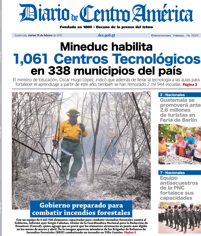 Calendario Autodromo Pedro Cofino 2019.Edicion Del Diario De Centro America Para El Martes 19 De
