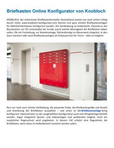 Briefkasten Online Konfigurator Von Knobloch KNOBLOCH Der Erfahrenste Briefkastenhersteller Deutschland Startet Nun Auch Richtig Durch