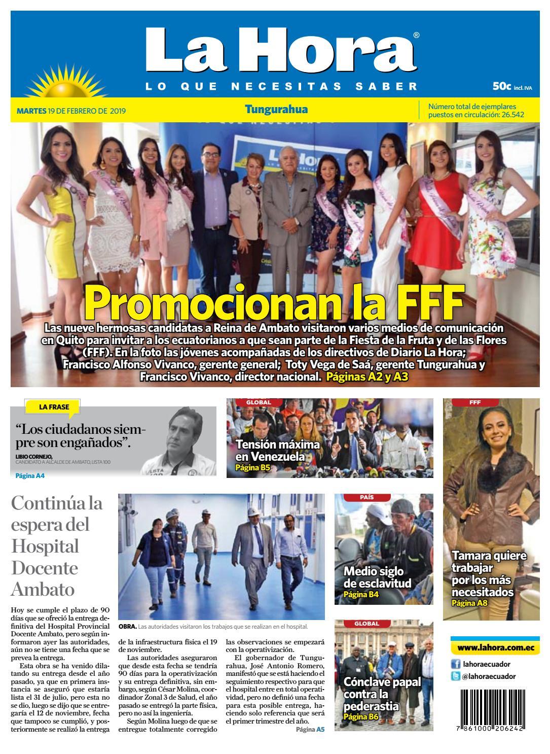 61f950d61 TUNGURAHUA 19 DE FEBRERO DE 2019 by Diario La Hora Ecuador - issuu