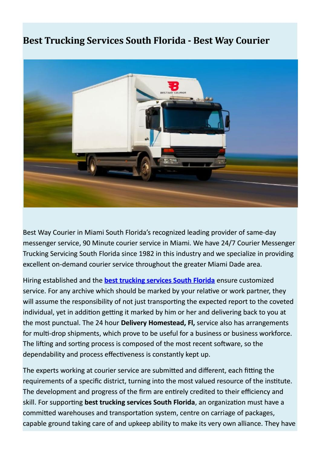 Best Trucking Services South Florida - Best Way Courier by