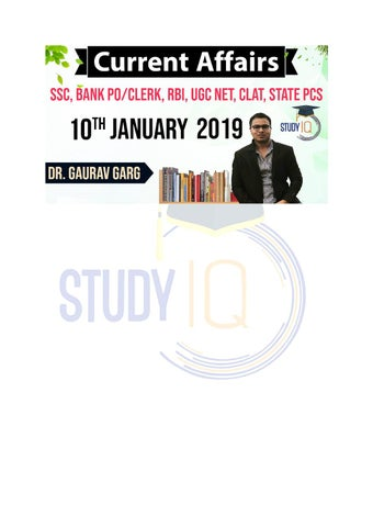 Daily Current Affairs Free PDF of 10th Jan 2019 - StudyIQ by studyiq