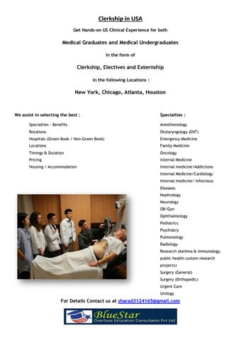 Clinical Clerkship in USA by BlueStar Overseas Education