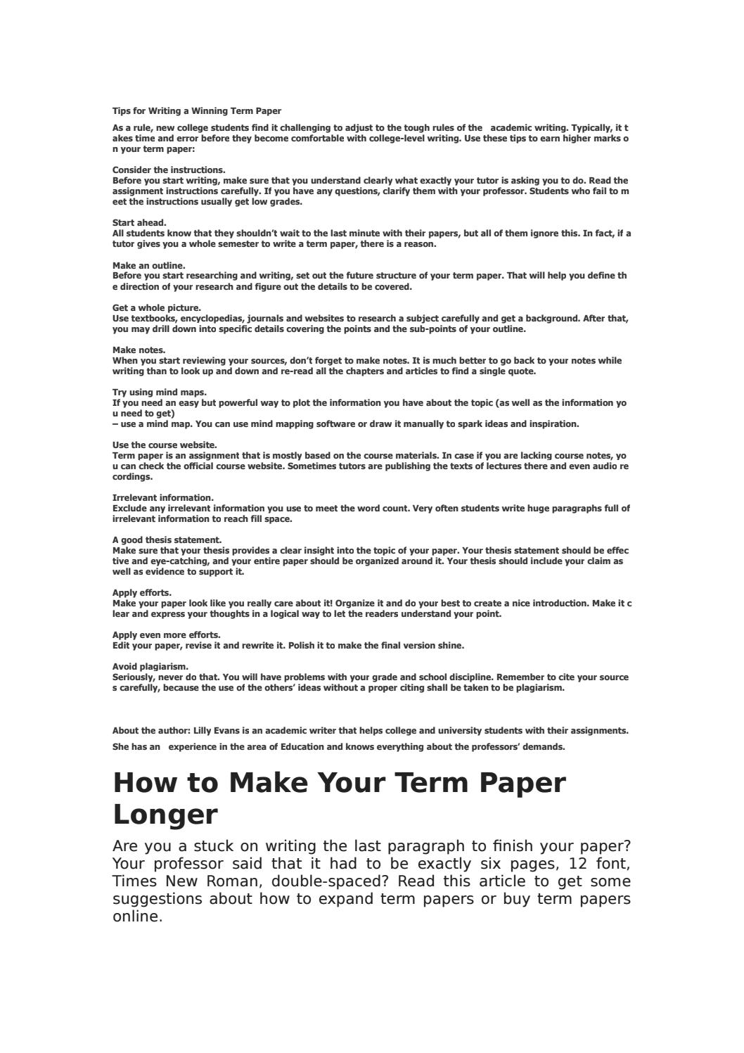 Tips For Writing A Winning Term Paper By Aaaaaalexmoore Issuu