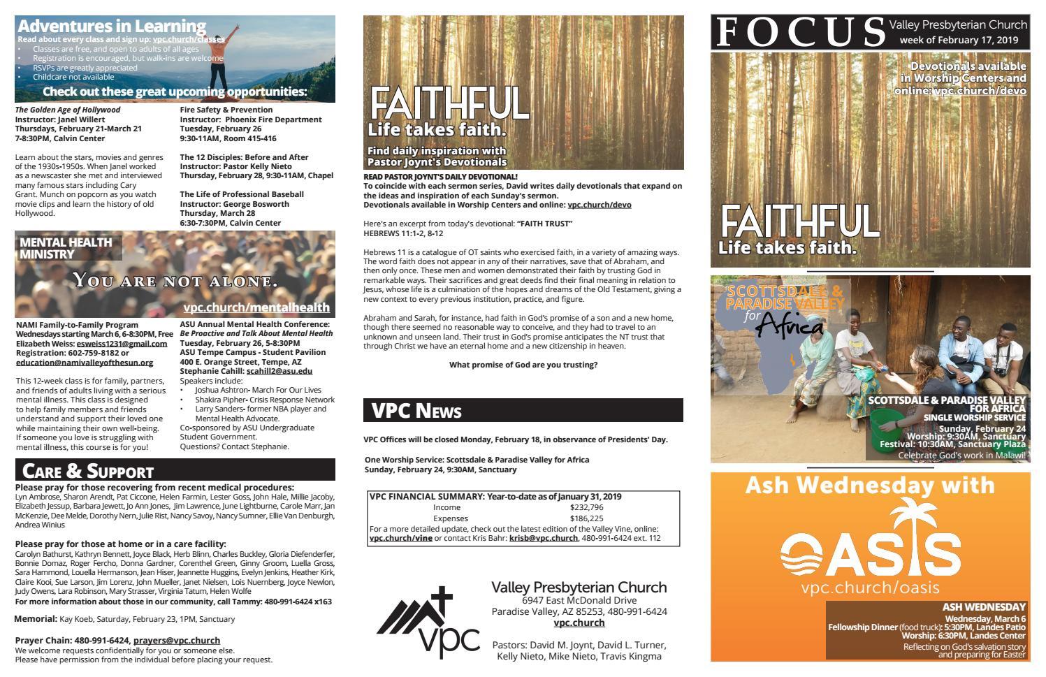 Focus 02-17-2019 by Valley Presbyterian Church - issuu