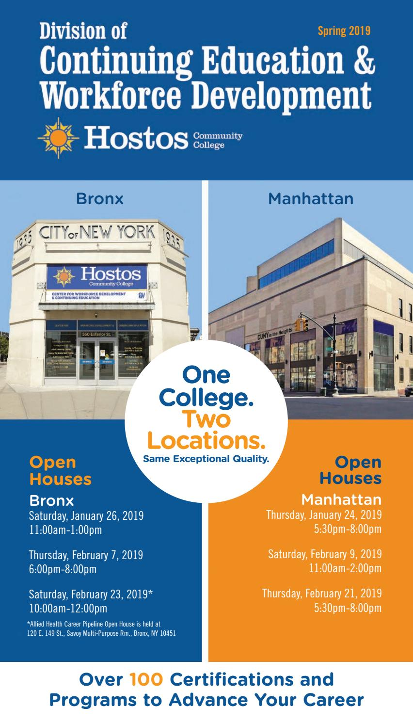 Spring 2019 Continuing Education Catalog by Hostos Community