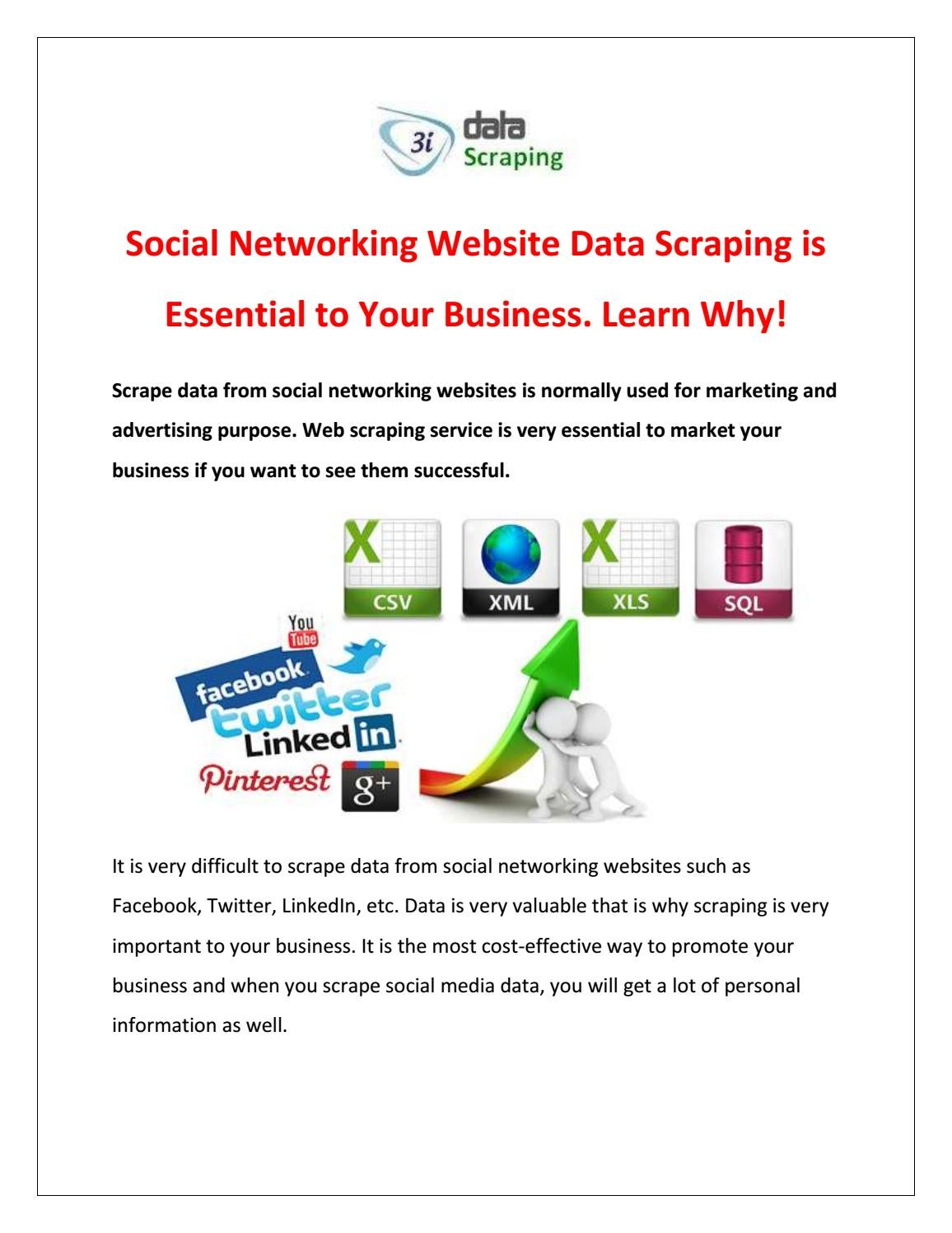 Social Networking Website Data Scraping is Essential to Your
