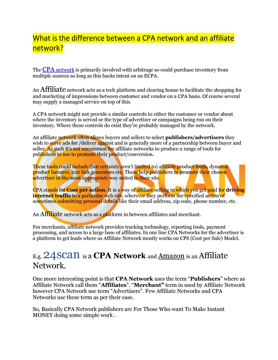 What is The Difference Between CPA and Affiliate by 24scan