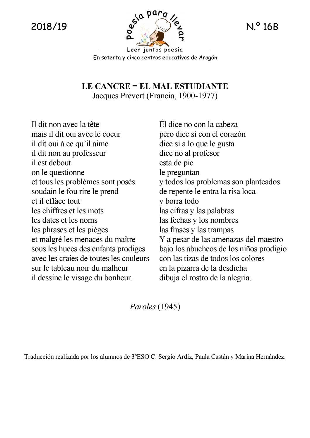 Ppll181916bjacques Prévert Le Cancreel Mal Estudiante