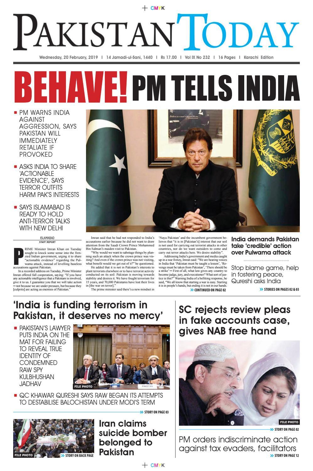E-Paper PDF 20 February (KHI) by Pakistan Today - issuu