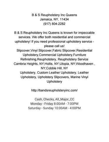 B S Reupholstery Inc Queens 917 804 2282 By B S Reupholstery
