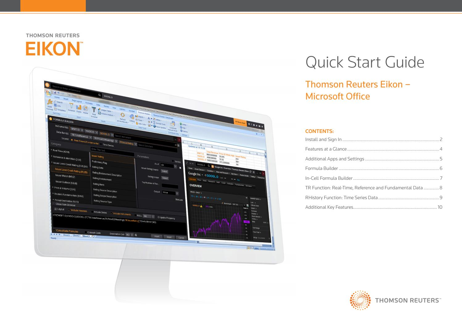 Thomson Reuters EIKON: Excel Add-in Guide by INCEIF