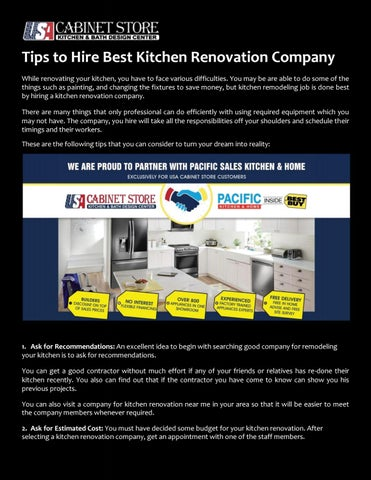 Tips To Hire Best Kitchen Renovation Company By Usa Cabinet Store