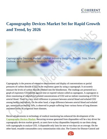 Capnography Devices Market Industrial Progress 2018 to 2026
