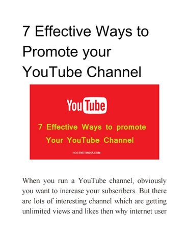 7 Effective Ways to Promote your YouTube Channel by