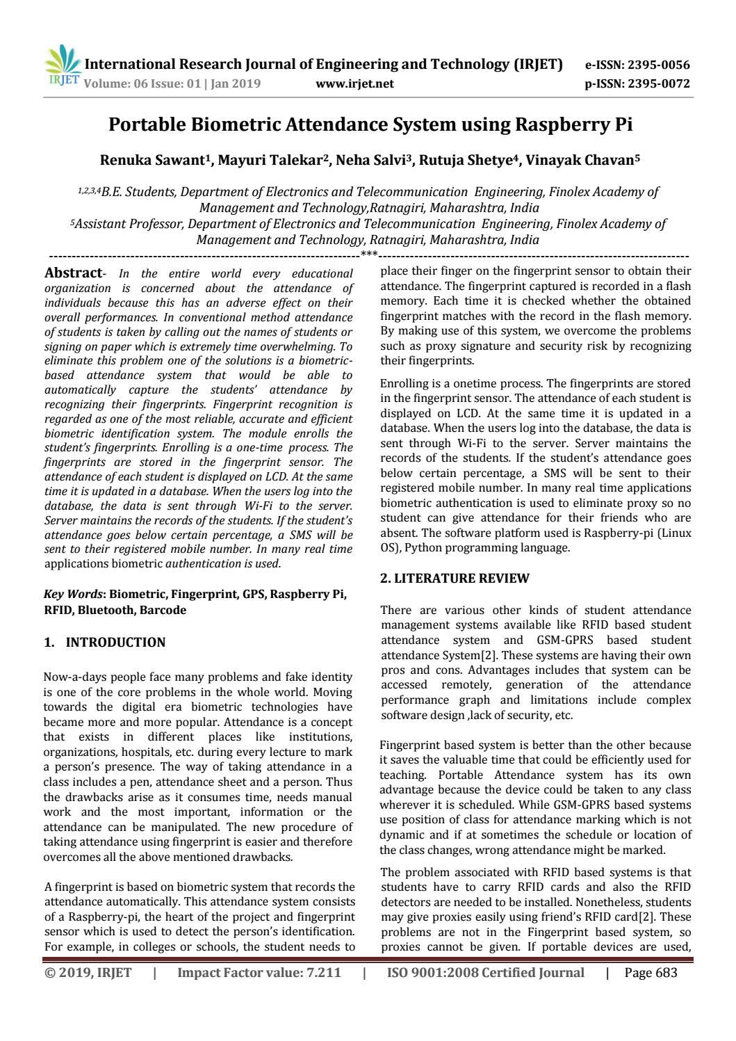 IRJET- Portable Biometric Attendance System using Raspberry Pi by