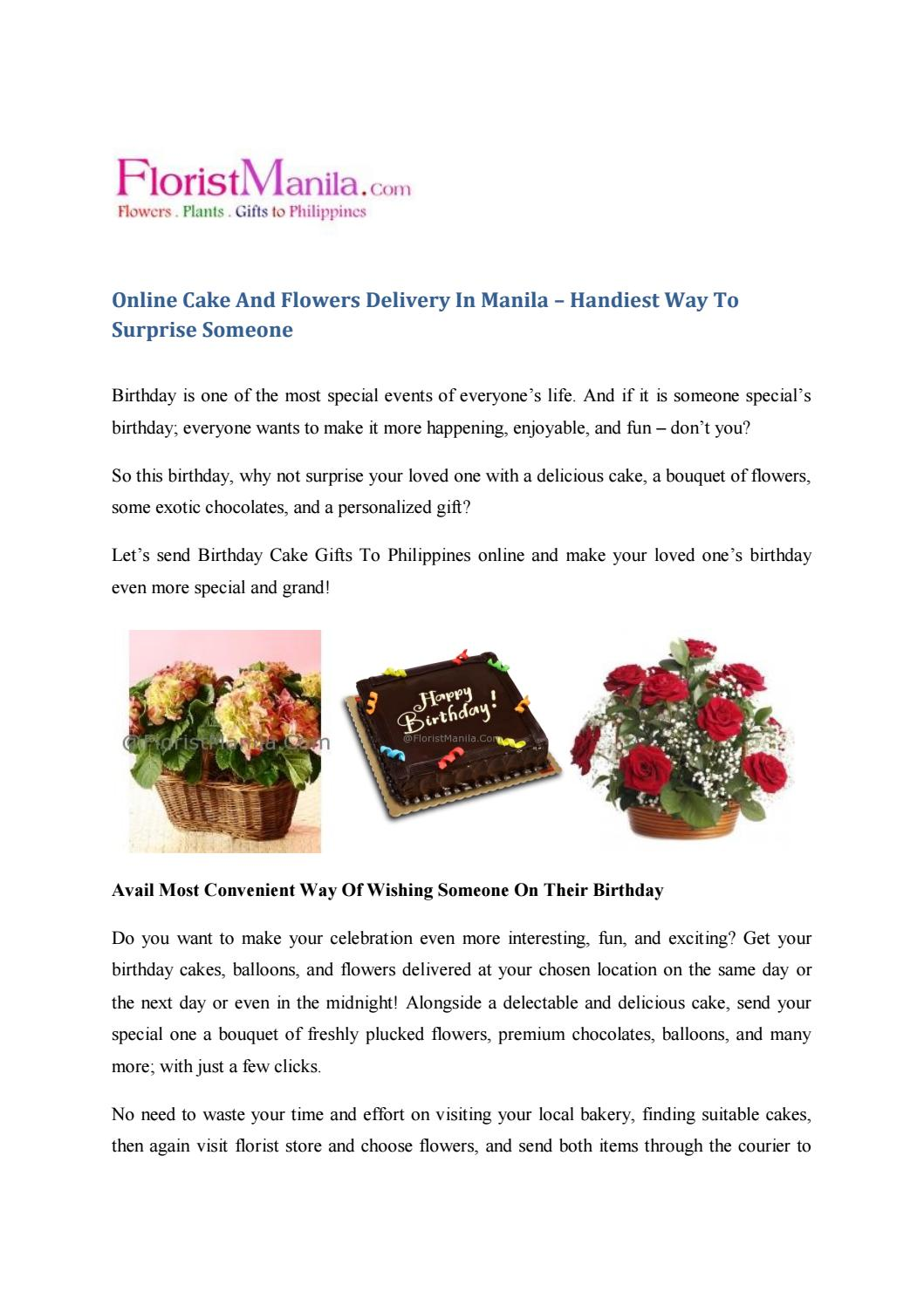 Pleasing Cake And Flowers Delivery In Manila By Floristmanilaseo Issuu Personalised Birthday Cards Veneteletsinfo