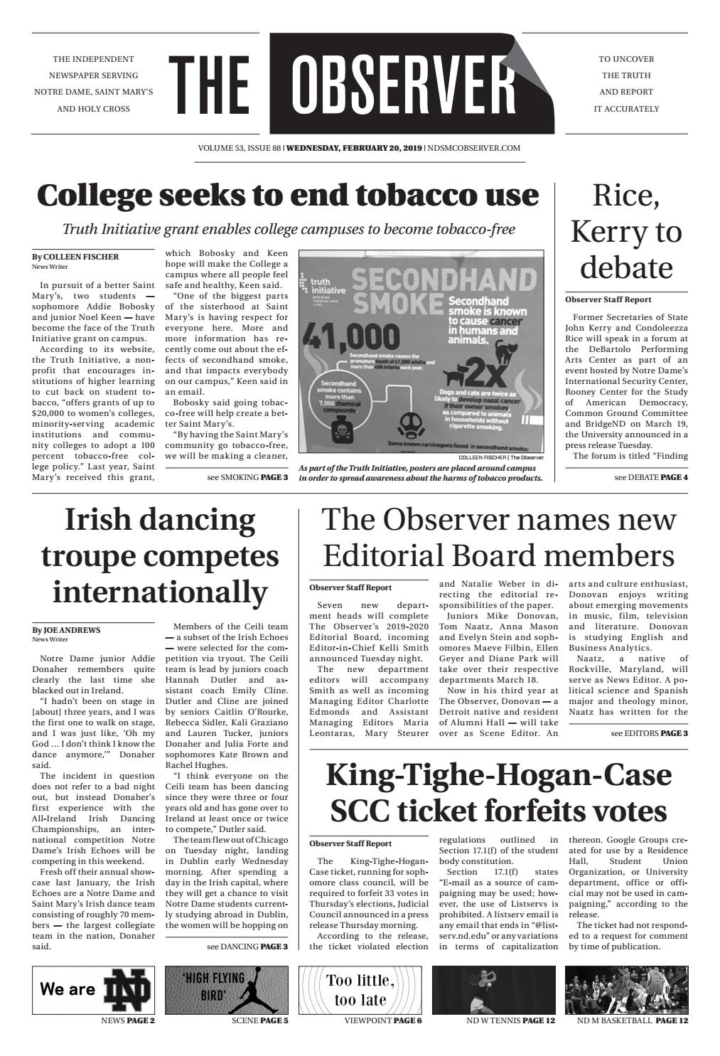 Print Edition of The Observer for Wednesday, February 20