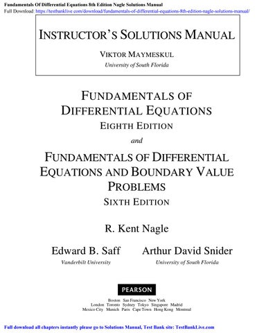 Fundamentals Of Differential Equations 8th Edition Nagle