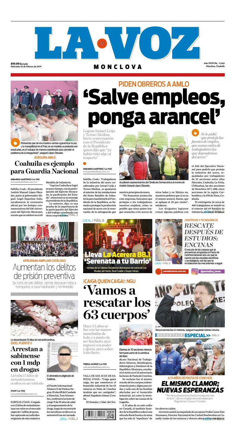 20 de febrero 2019 by La Voz Monclova - issuu 0cd75336c96e