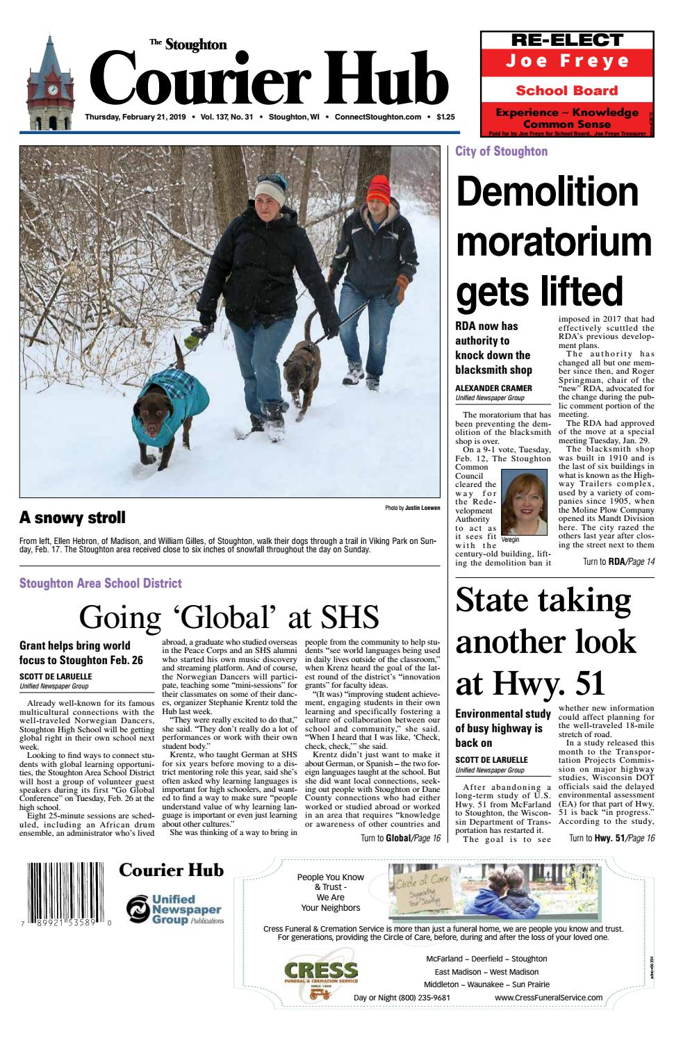 2/21/19 Stoughton Courier Hub by Woodward Community Media