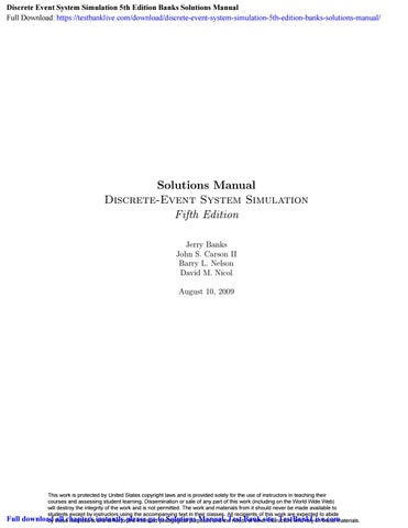Discrete Event System Simulation Jerry Banks 5th Edition Pdf