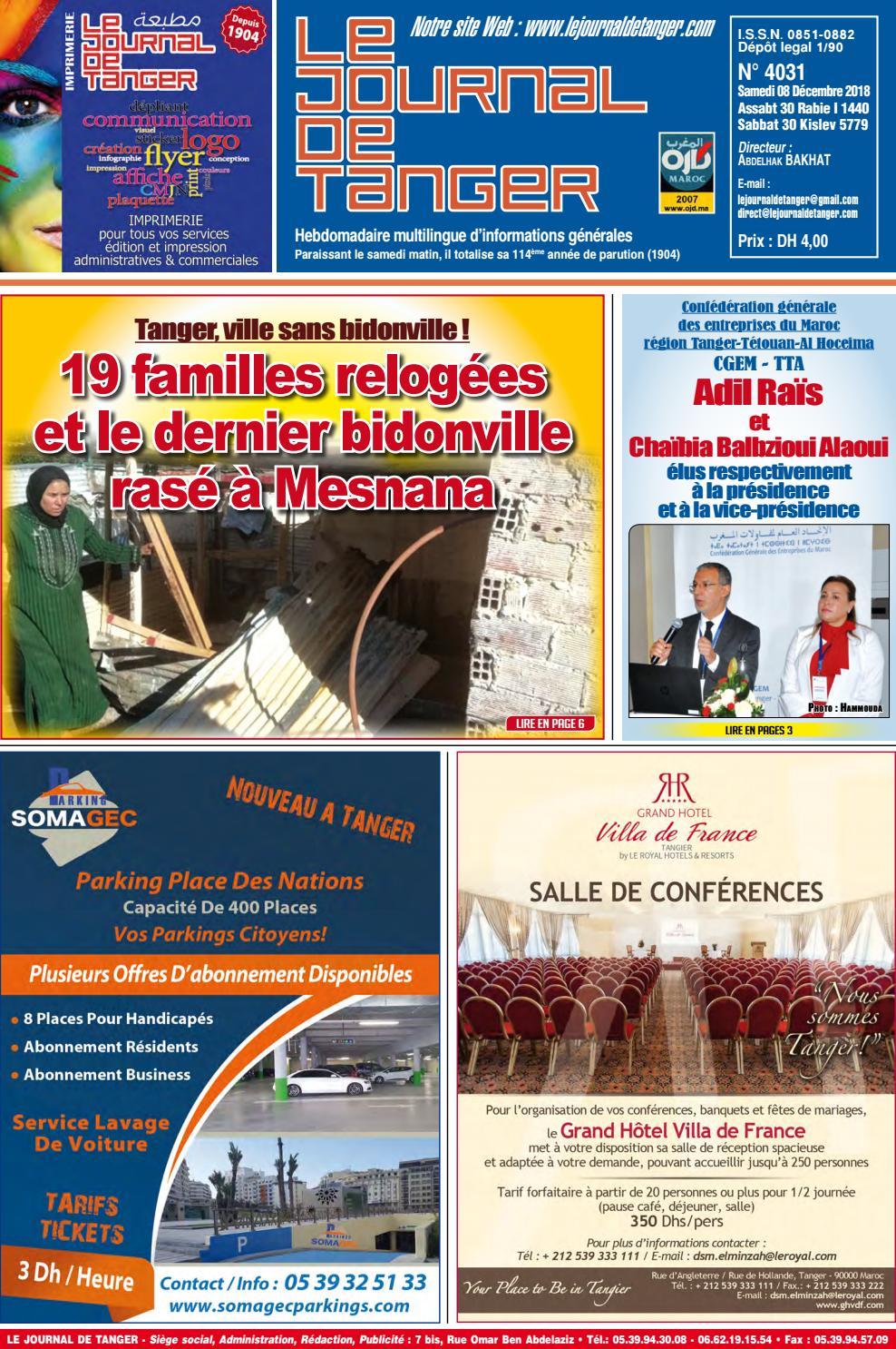 91d76fe68 Le journal de Tanger 08 Décembre 2018 by Le Journal de Tanger - issuu