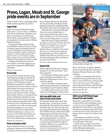 Page 14 of Provo, Logan, Moab and St. George pride events are in September
