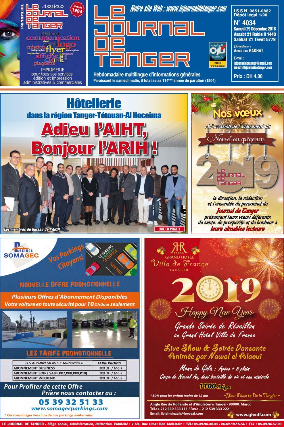 Le Journal De Tanger 29 Décembre 2018 By Le Journal De