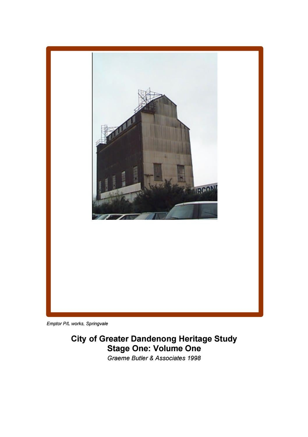 City of of Greater Dandenong Heritage Study Stage 1 1998- V1 ... Dandong Phase Motor Wiring Diagrams on