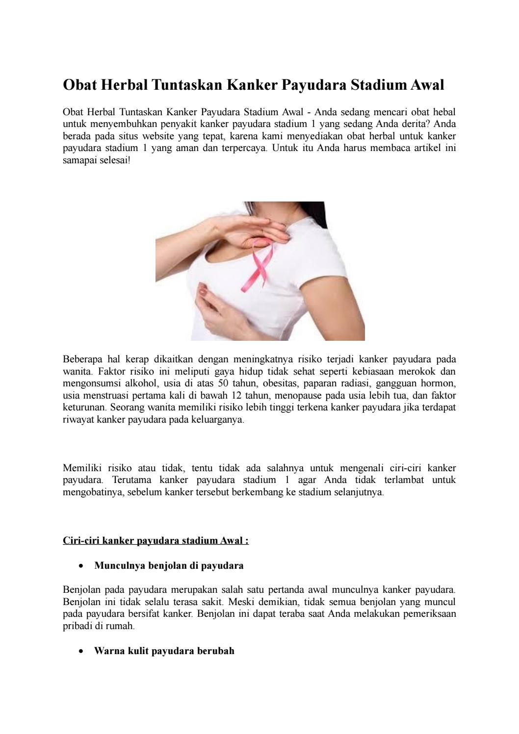 Obat Herbal Tuntaskan Kanker Payudara Stadium Awal By Mardiyatun