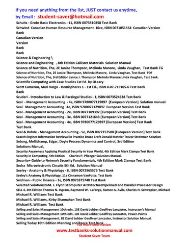 Full List Test Banks And Solutions Manual Student Saver