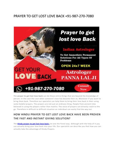PRAYER TO GET LOST LOVE BACK by astrologer pannalal - issuu