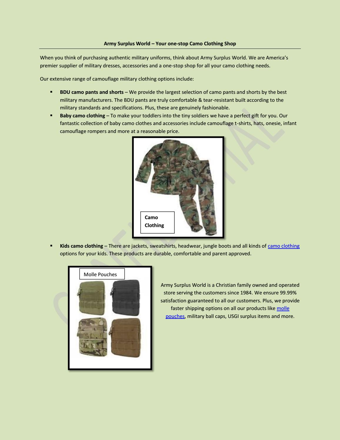 Army Surplus World – Your one-stop Camo Clothing Shop by