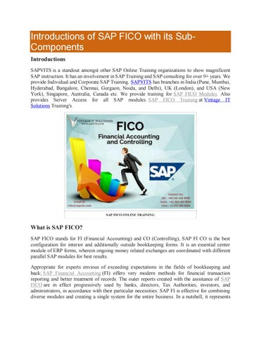 Introductions of SAP FICO with its Sub- Components by gauri