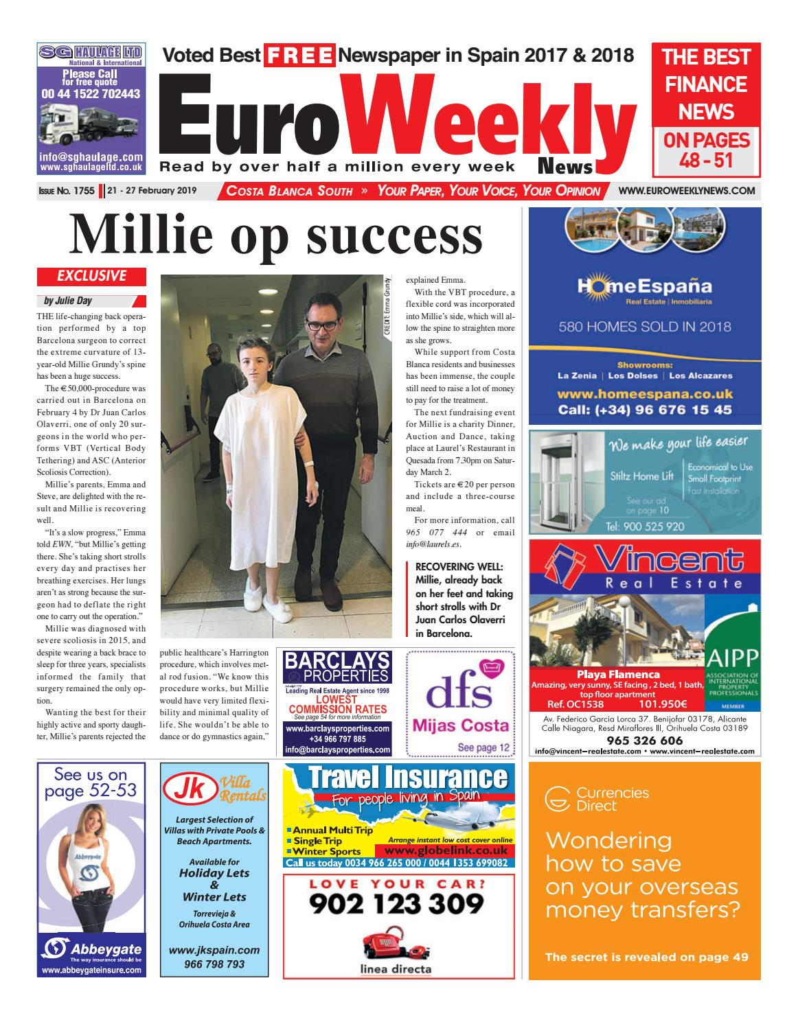 Euro Weekly News - Costa Blanca South 21 - 27 Feb 2019 Issue 1755 by Euro  Weekly News Media S.A. - issuu 5e80cbd94
