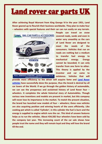 Land Rover Car Parts Uk By Bestsolnseo Issuu