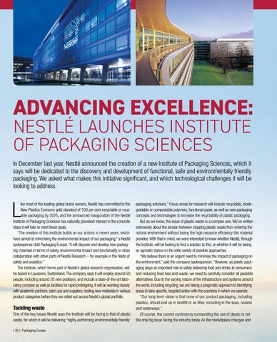 Page 32 of Advancing excellence:  Nestlé launches Institute of Packaging Sciences