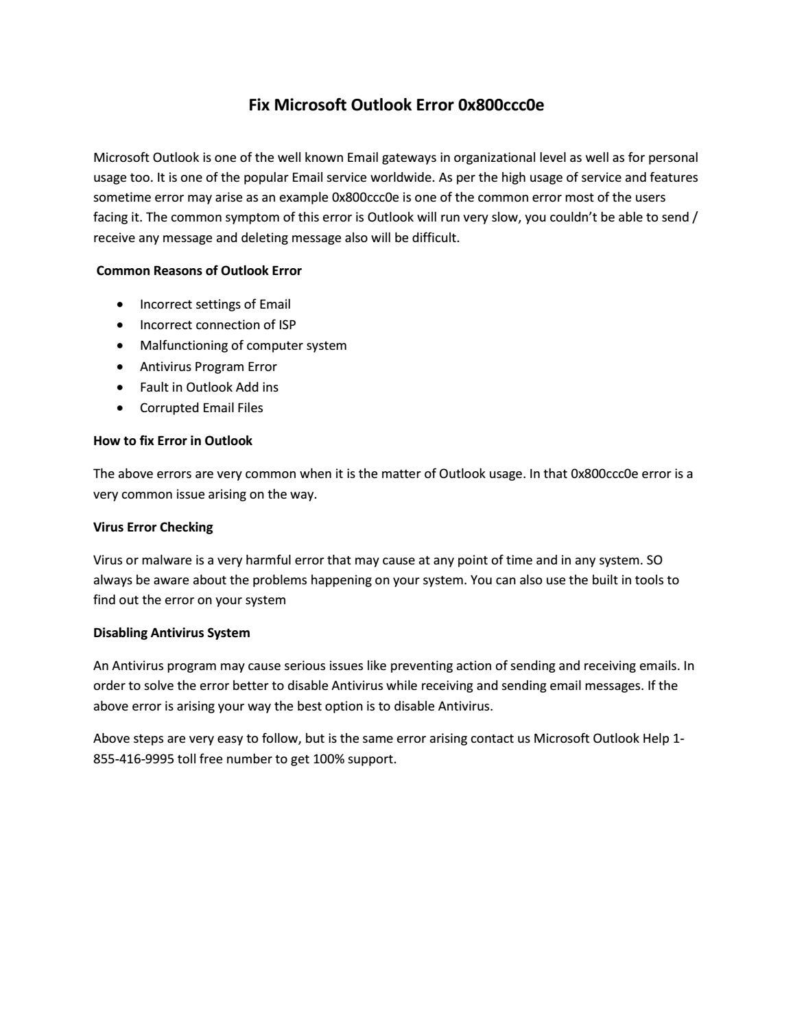 Fix Microsoft Outlook Error 0x800ccc0e by Robert Smith - Issuu