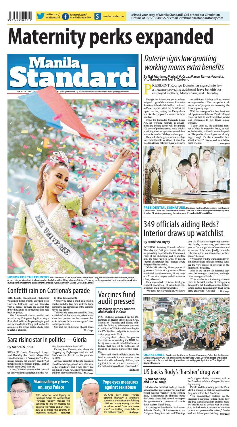 Manila Standard - 2019 February 22 - Friday by Manila Standard - issuu