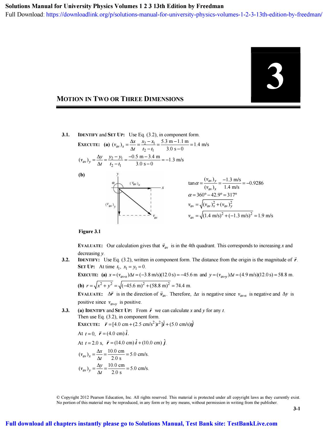 Solutions Manual For University Physics Volumes 1 2 3 13th Edition By Freedman By Channing Issuu