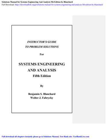 Solutions Manual For Systems Engineering And Analysis 5th Edition By Blanchard By Kiayada Issuu