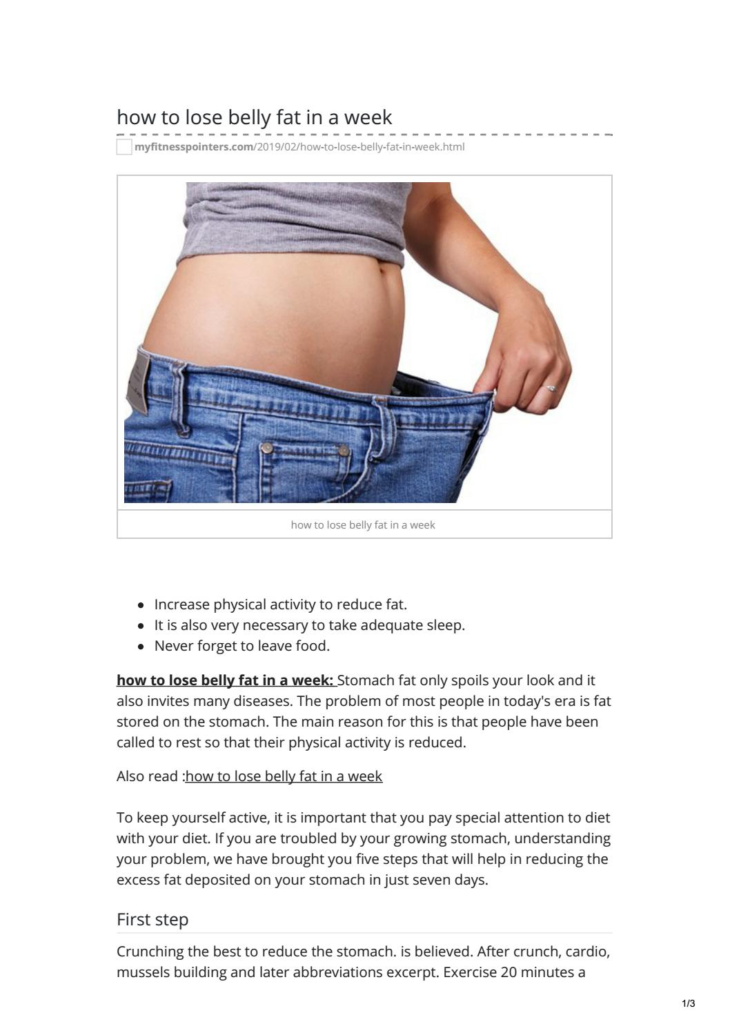 How To Lose Belly Fat In A Week By Kashif Hossain Issuu