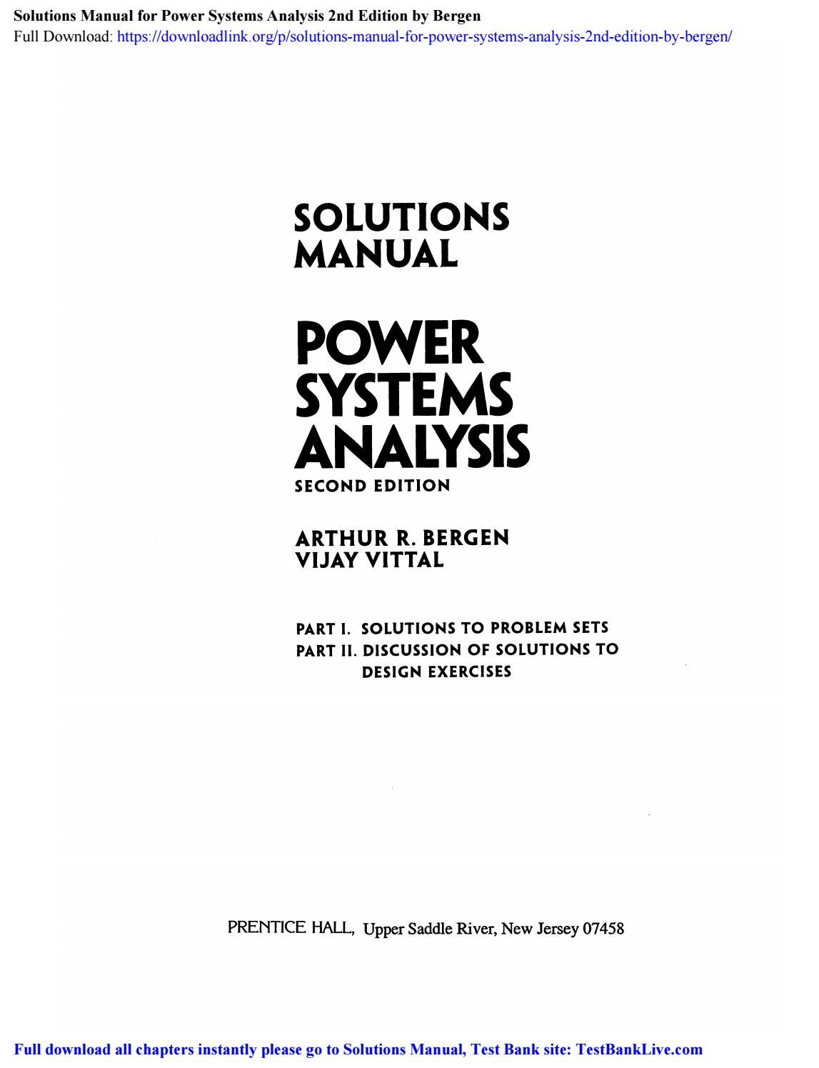 Solutions Manual For Power Systems Analysis 2nd Edition By Bergen By Scott Issuu