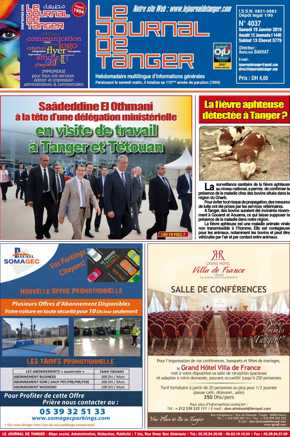 ebb3b6f8f Le journal de Tanger 19 Janvier 2019 by Le Journal de Tanger - issuu