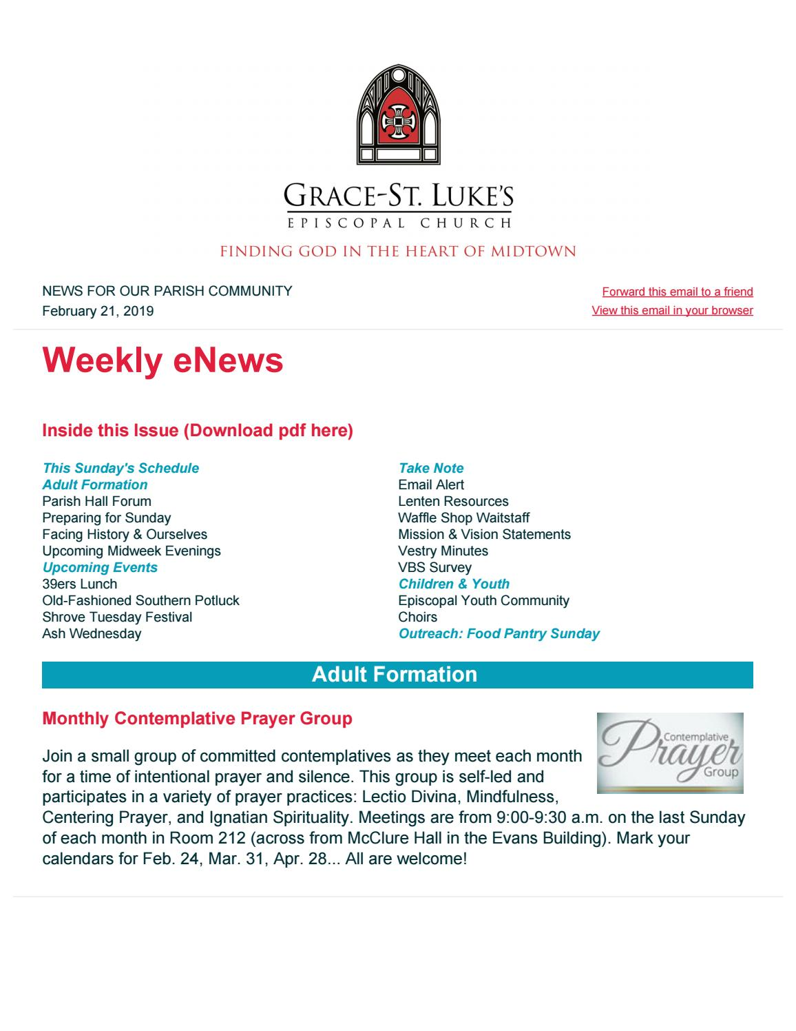 eNews for January 21, 2019 by Grace-St  Luke's Episcopal Church - issuu