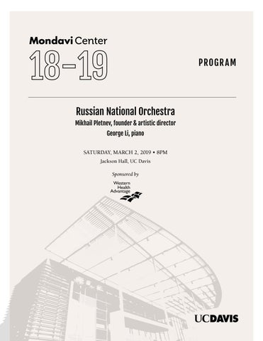 Russian National Orchestra Program By Robert And Margrit Mondavi