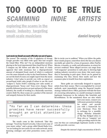 Page 12 of Too Good to be True: Scamming Indie Artists—by Daniel Lewycky