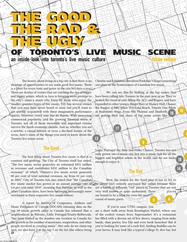 Page 14 of The Good, the Rad, and the Ugly of Toronto's Live Musc Scene—by Felipe Vellejo