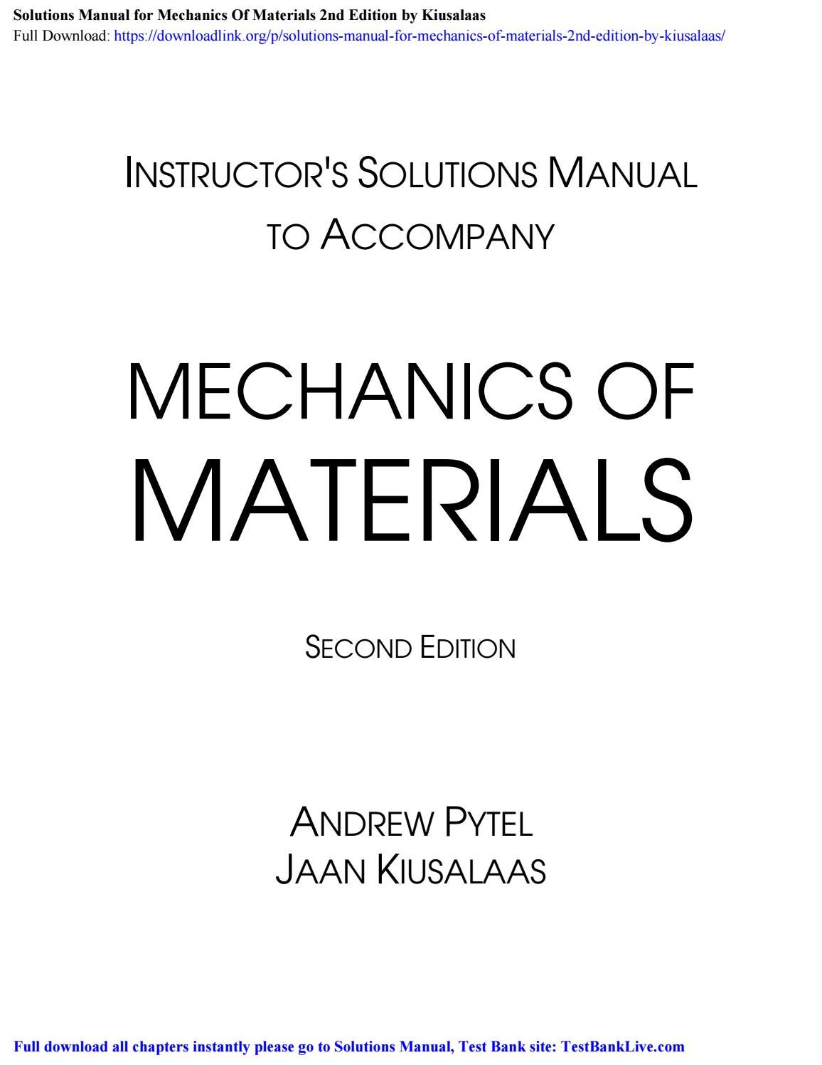 Solutions Manual For Mechanics Of Materials 2nd Edition By Kiusalaas By Nicole Issuu