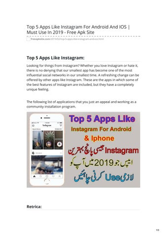 Top 5 Apps Like Instagram For Android And IOS Must Use In 2019